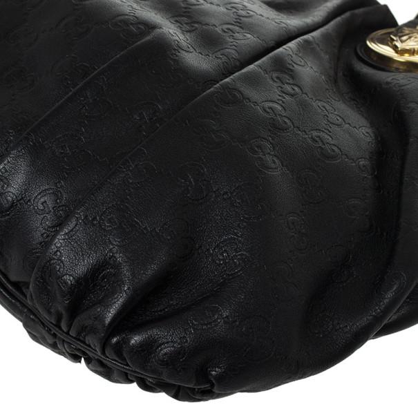 Gucci Black Guccissima Leather Hysteria Hobo