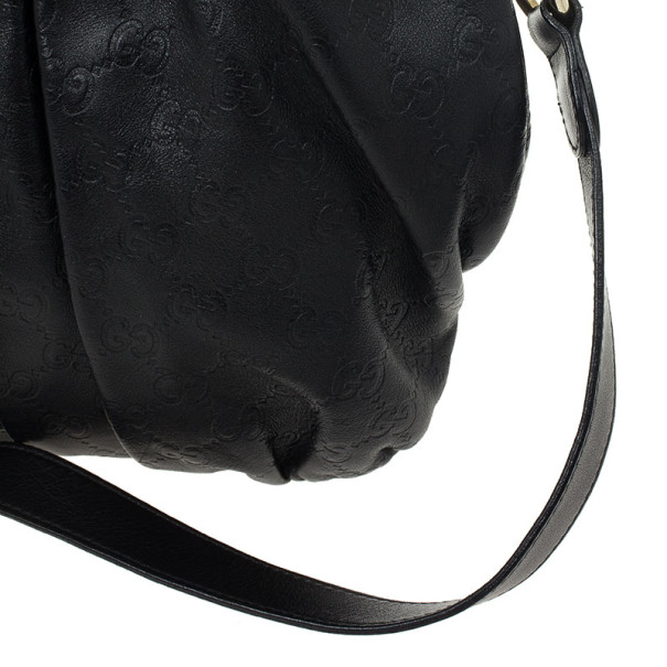 Gucci Black Guccissima Leather Hysteria Hobo