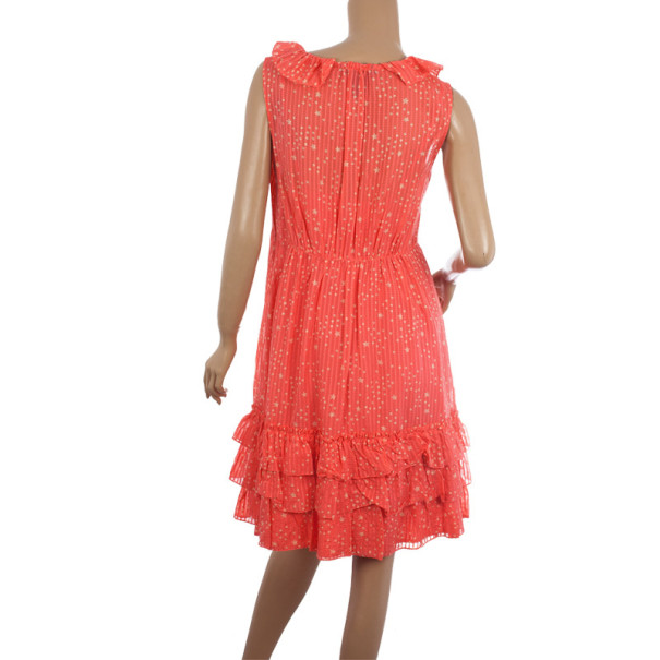 Marc by Marc Jacobs Brightest Coral Cosmo Print Cotton-Silk Ruffle Dress M
