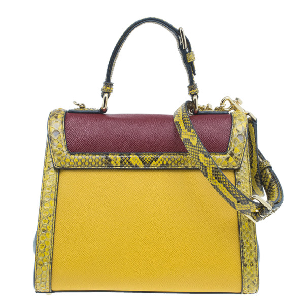 Dolce and Gabbana Burgundy Leather and Python Trim Small Monica Bag