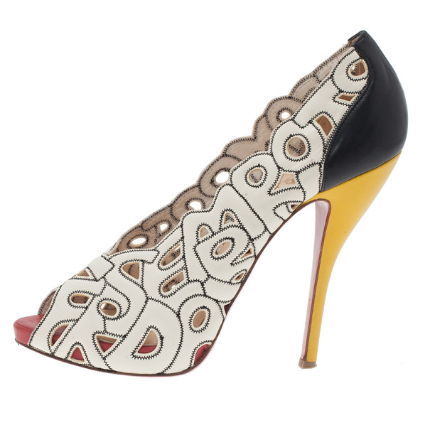 Christian Louboutin Tricolor Tell Me Cutout Pumps Size 39