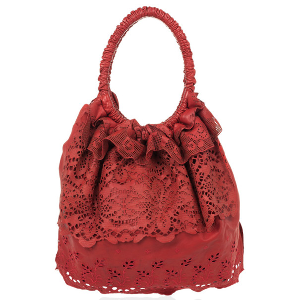 Valentino Dove Red Leather Laser Cut Lace Handbag