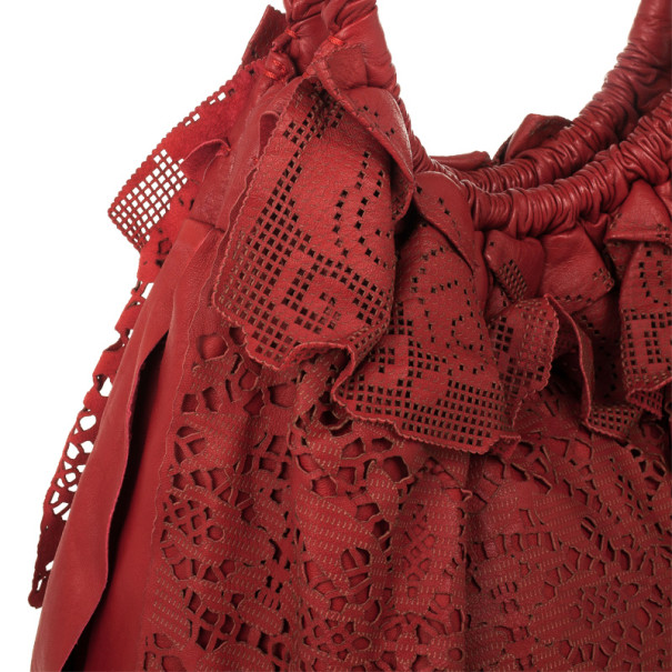 Valentino Dove Red Leather Laser Cut Lace Handbag