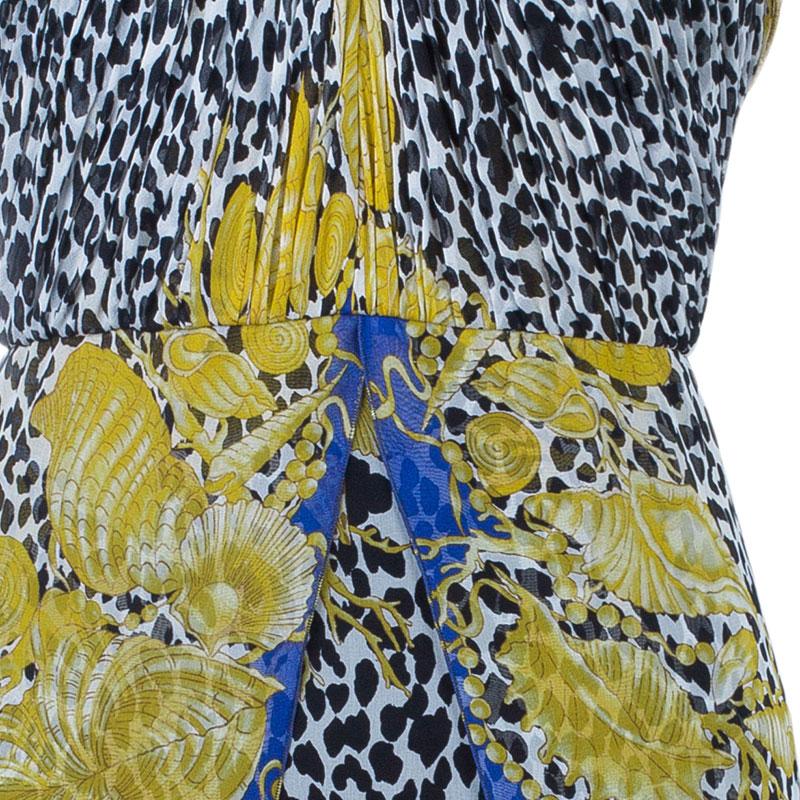 Versace Scarf Leopard Print Halterneck Dress M
