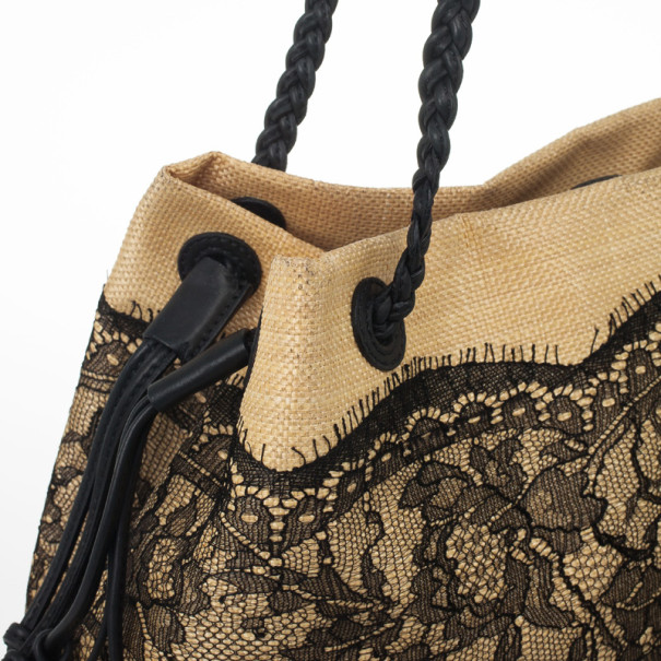Valentino Black Lace Detail Tote