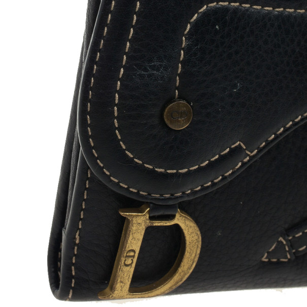 Dior Black Leather Saddle Compact Wallet
