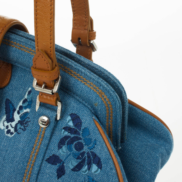 Dior Blue Denim Floral Frame Satchel Flap bag