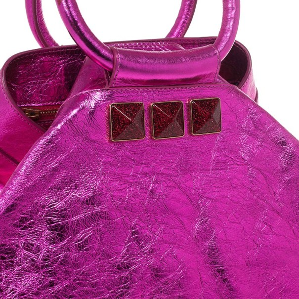 Marc Jacobs Metallic Pink Crackled Leather Cruise Tote