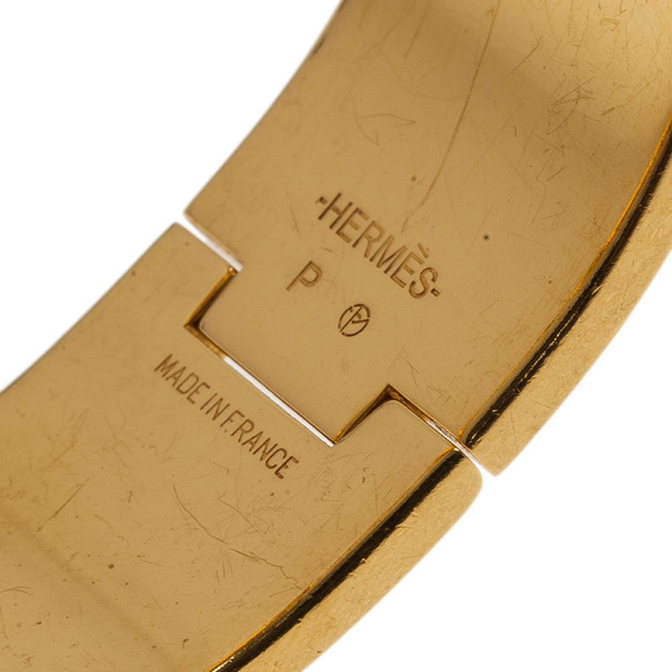 Hermes Clic Clac H Wide Gold-Plated Blue Enamel Bracelet PM