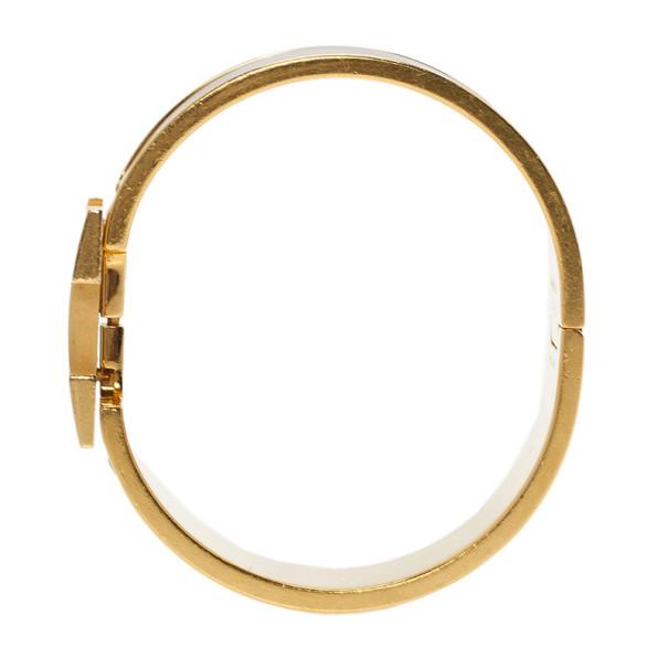 Hermes Clic Clac H Wide Gold-Plated Blue Enamel Bracelet PM