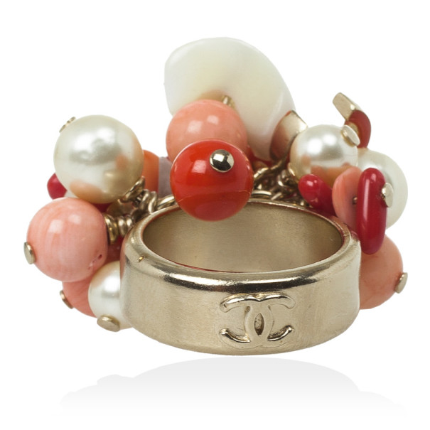 Chanel Corals and Pearls Cluster Ring Size 53