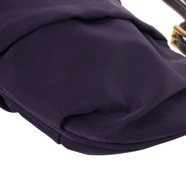 Prada Purple Pleated Logo Wristlet