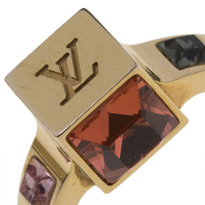 Louis Vuitton Gamble Gold Tone Ring Size 50