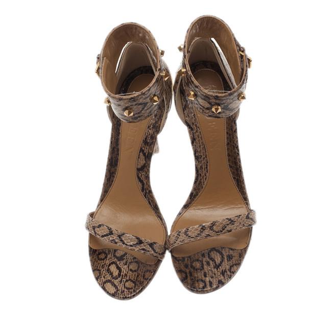 Alexander McQueen Beige Python Ankle Strap Wedges Size 38.5