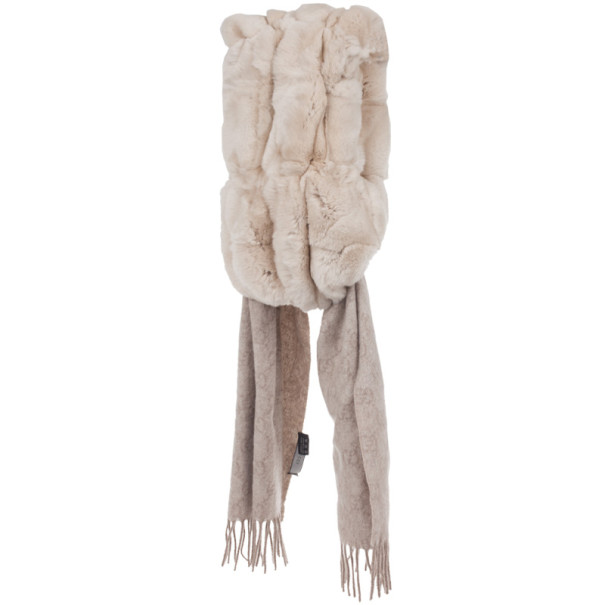 Gucci Beige Rabbit Fur & GG Pattern Cashmere Scarf