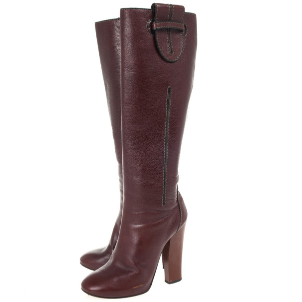 Chloe Brown Leather Knee Length Boots Size 37.5