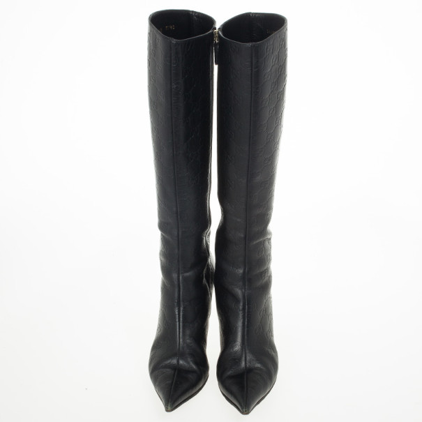 Gucci Guccissima Black Leather Pointed Toe Knee Length Boots Size 37.5