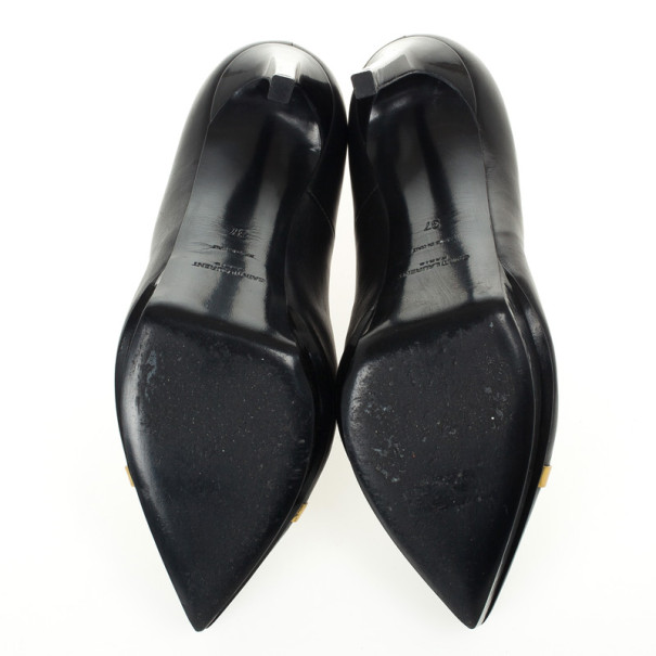 Saint Laurent Black Janis Trimmed Cap Toe Pumps Size 37