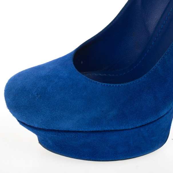 Yves Saint Laurent Blue Suede Palais Platform Pumps Size 37.5