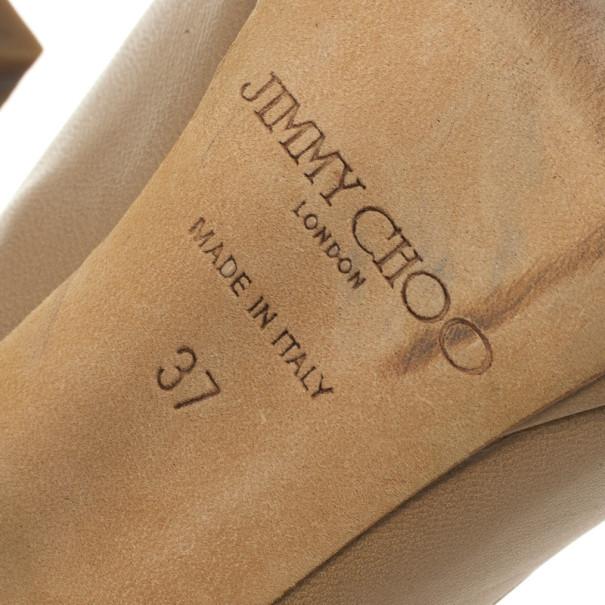 Jimmy Choo Nude Leather 'Quiet' Peep Toe Platform Pumps Size 37