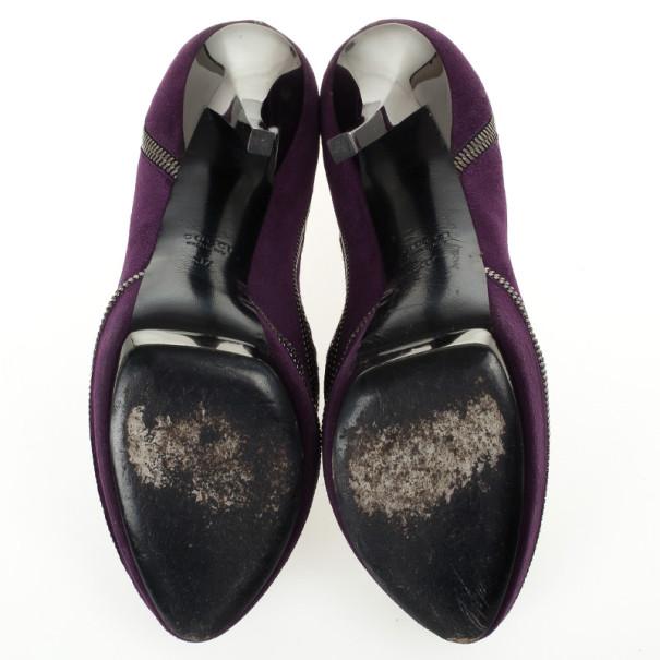 Gucci Purple Suede Zipper Detail Pixie Platform Pumps Size 37
