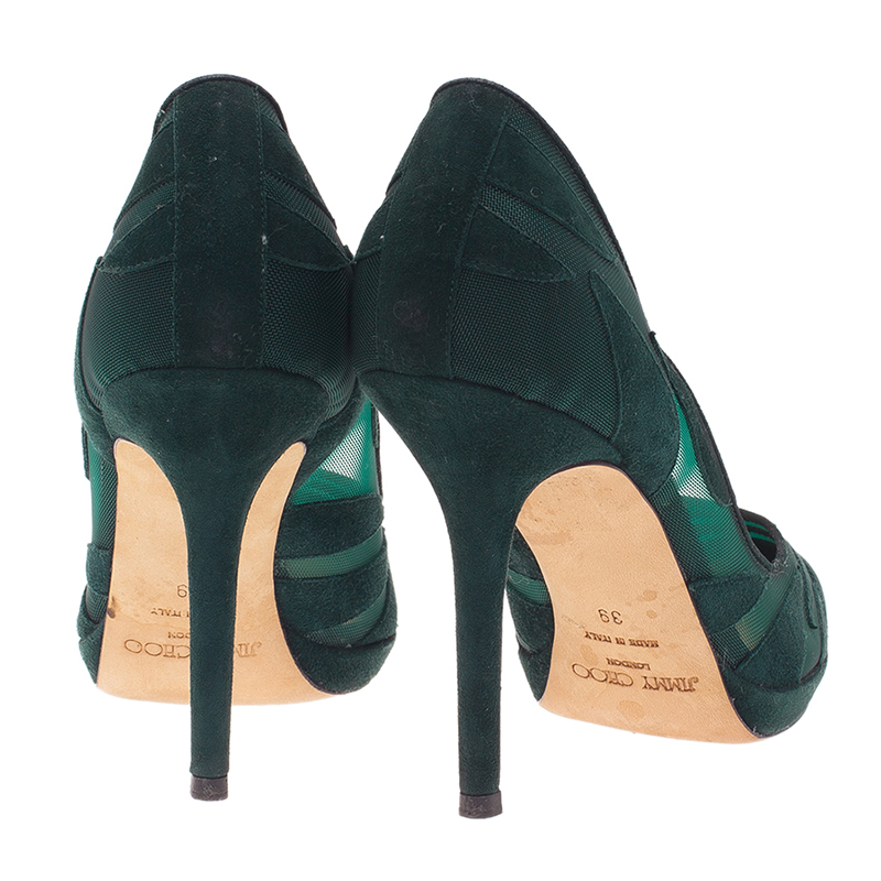 Jimmy Choo Green Suede and Mesh Kersey Platform Pumps Size 39