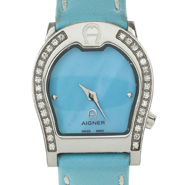 Aigner Blue Stainless Steel Womens Wristwatch 30 MM