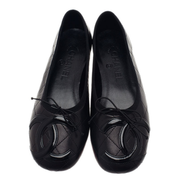 Chanel Black Leather CC Cambon Ballet Flats Size 38.5