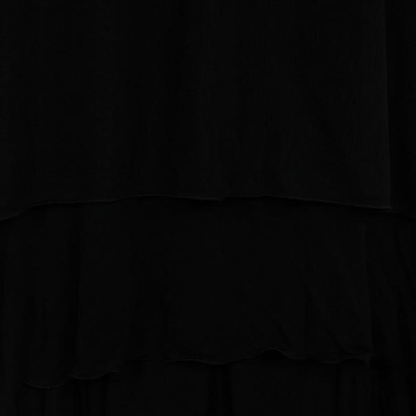 Saint Laurent Paris Black Pleated Evening Dress M