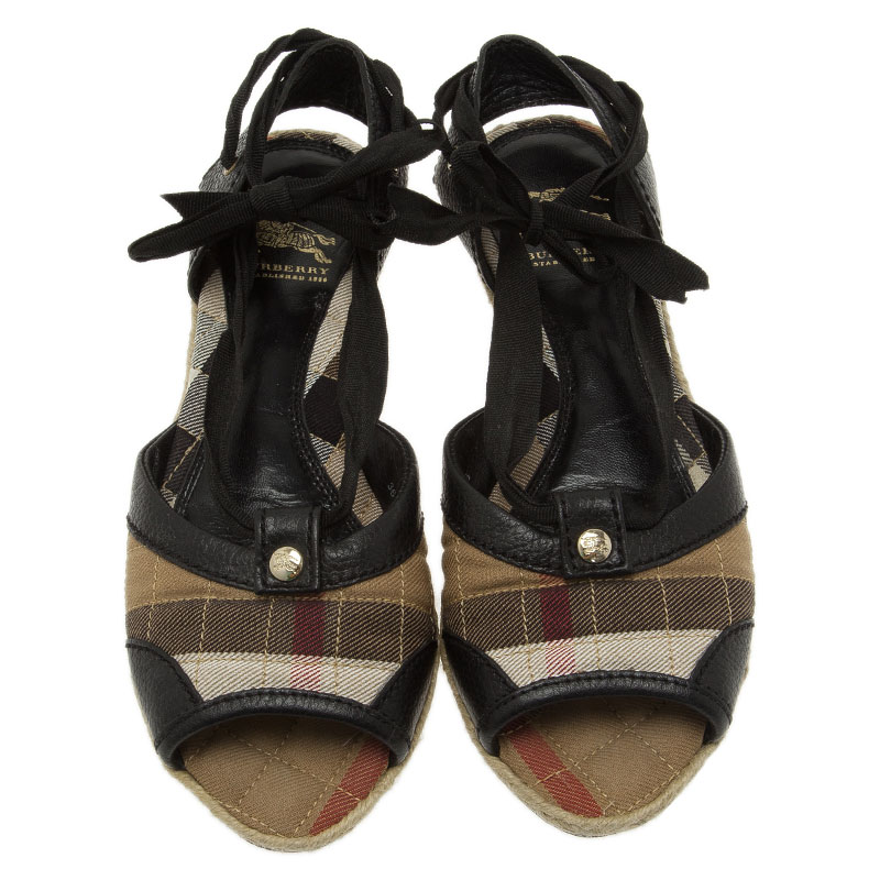 Burberry Novacheck Canvas and Leather Lace Up Raffia Flats Size 36