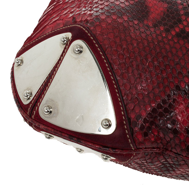 Gucci Gold Red Python Large Babouska Indy Top Handle Bag