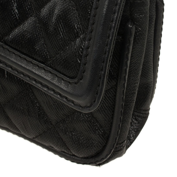 Chanel Black Quilted Textured Leather Classic Flap Bag