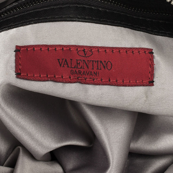 Valentino Garavani Black Ruffled Small Satchel