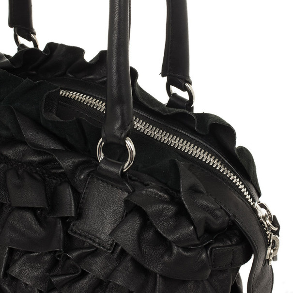 Valentino Garavani Black Ruffled Small Satchel