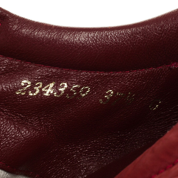 Gucci Maroon Suede & Leather Web Detail Sneakers Size 37.5
