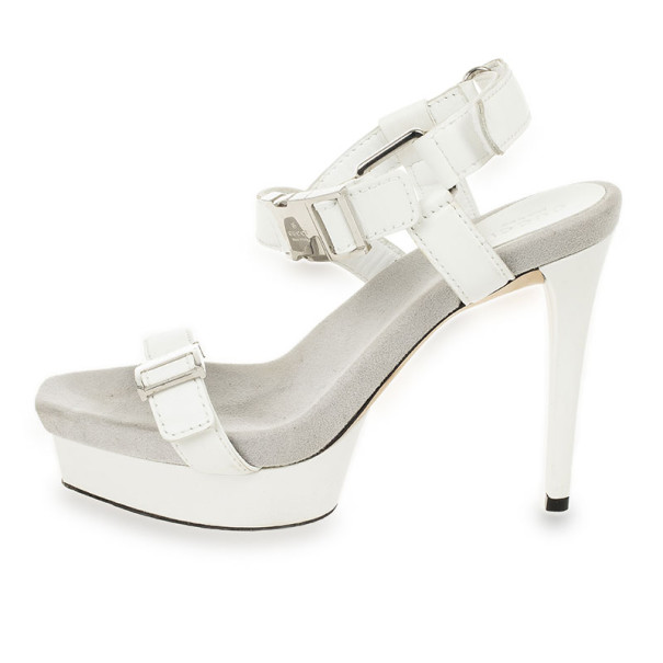 Gucci White Leather 'Gail' Clasp Platform Sandals Size 37.5