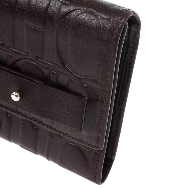 Carolina Herrera Monogram Embossed Flap Wallet