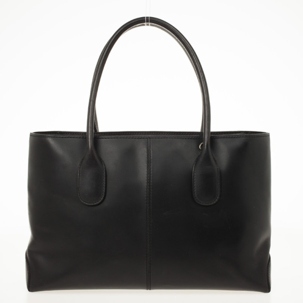Tod's Black Leather Convertible Tote