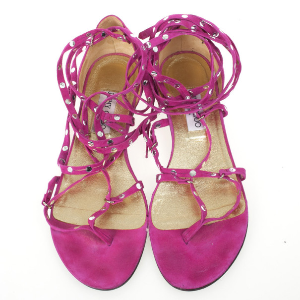 Jimmy Choo Pink Suede Strappy Studded Flat Sandals Size 39