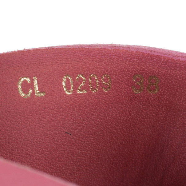 Christian Dior Pink Leather CD Wooden Mules Size 38