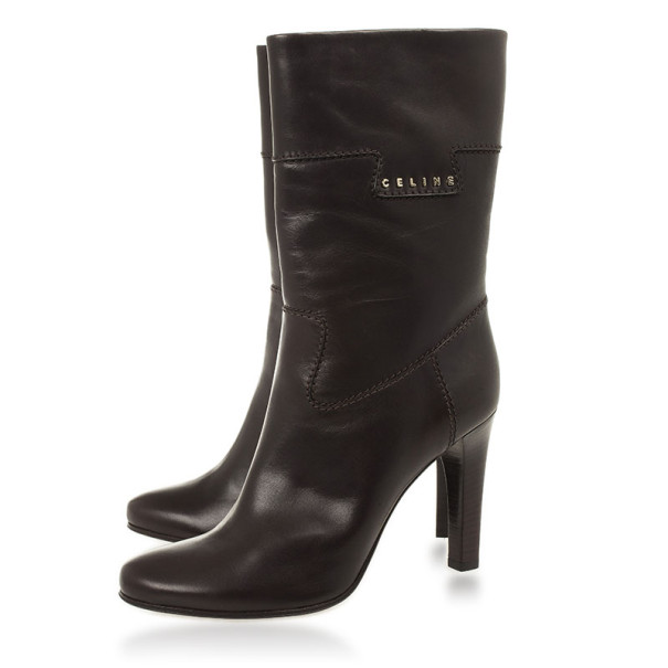 Celine Dark Brown Leather Logo Boots Size 40