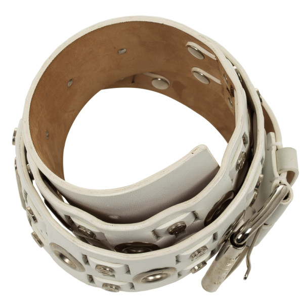Celine White Leather Logo Studded Belt 89 CM