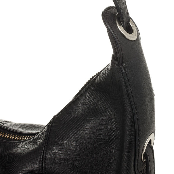 Givenchy Black Monogram Embossed Leather Hobo