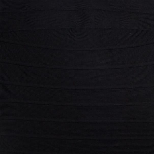 Herve Leger Black Strapless Lacing Detail Dress XS