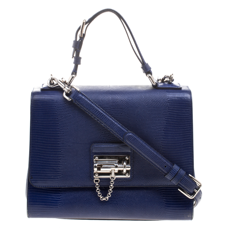 Dolce and Gabbana Blue Lizard Embossed Leather Medium Miss Monica Top  Handle Bag  Dolce gabbana sicily ... c378fc1322d8a