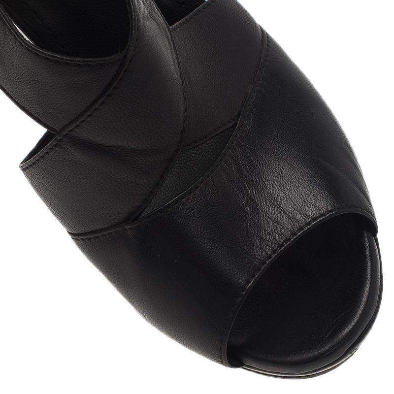Saint Laurent Paris Black Leather Wedge Sandals Size 38.5