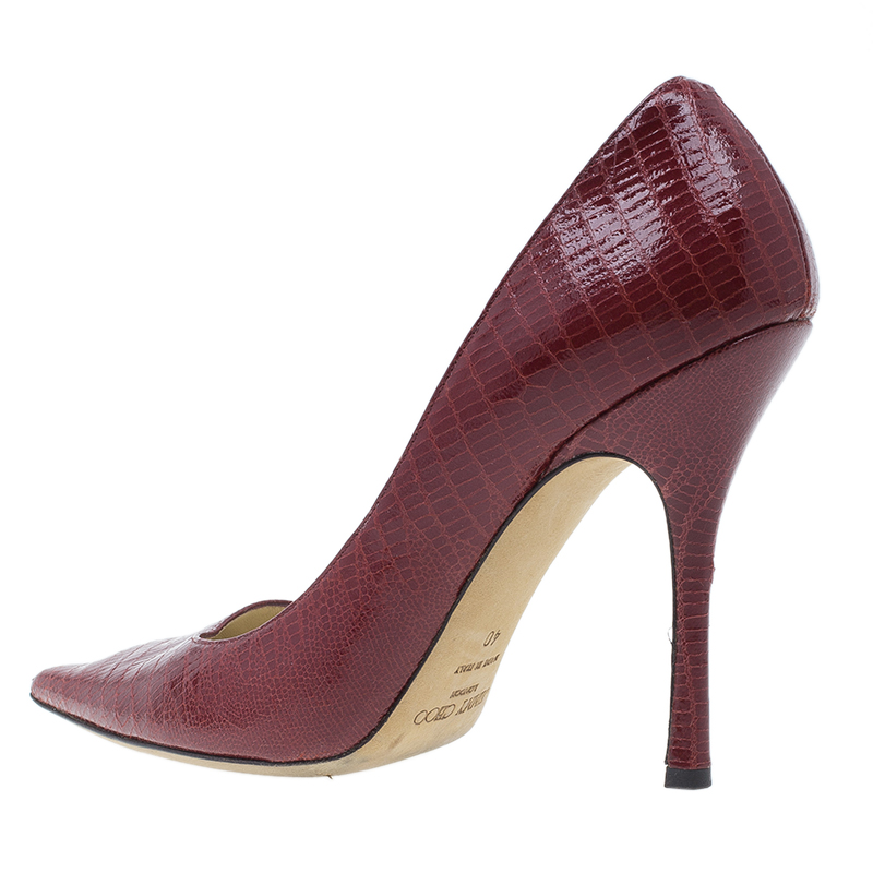 Jimmy Choo Red Lizard Embossed Pointed Toe Pumps Size 40