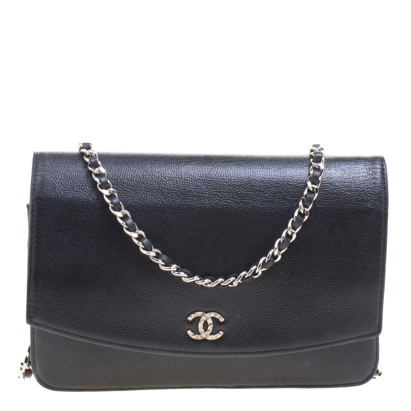 3a52aa22d7b8 Chanel Black Caviar Leather Sevruga Wallet on Chain. nextprev. prevnext