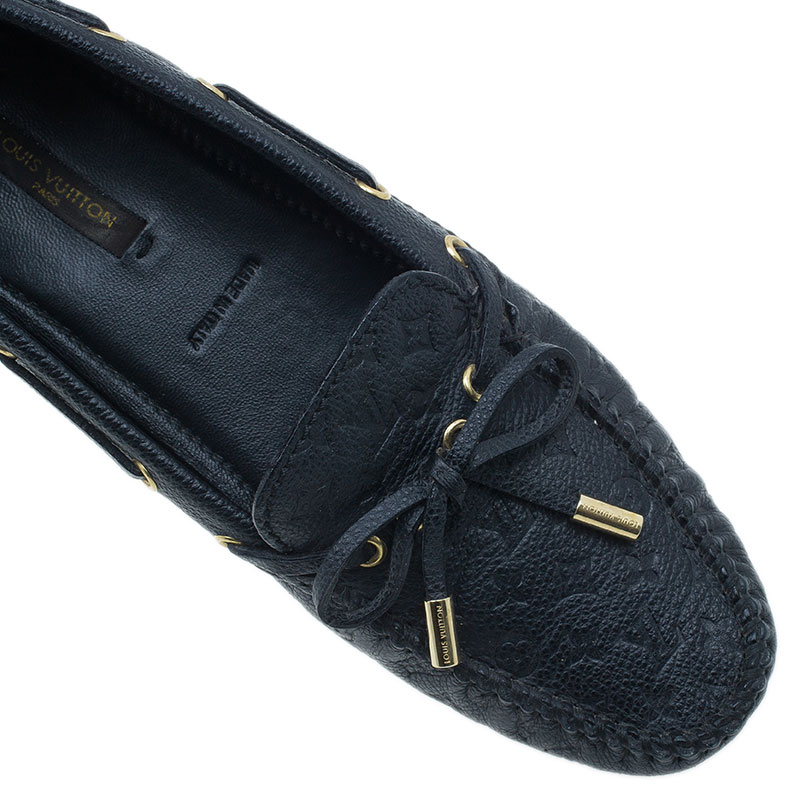 Louis Vuitton Black Leather Gloria Loafers Size 37