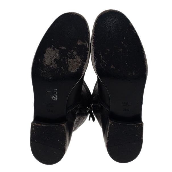 Gucci Black Leather Techno Horsebit Riding Boots Size 38.5